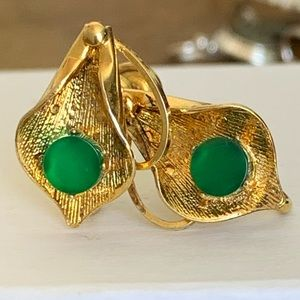 12K Gold Filled screw back Jade Green earnings